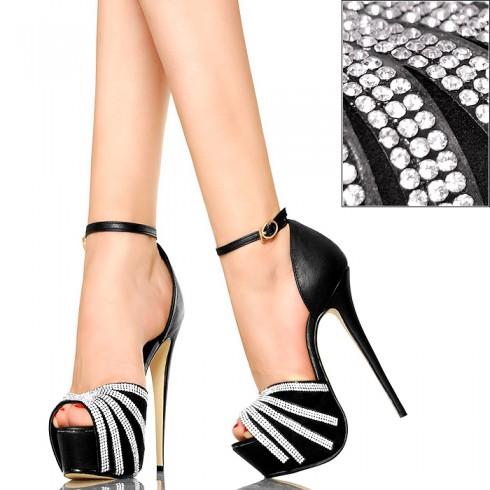 nie - Czarne Sandały - Cyrkoniowe Promienie