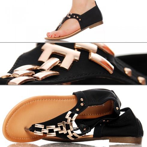 nie - Czarne Japonki - Sandały - Złoty Łańcuch