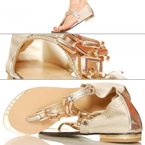 nie - Złote Japonki - Sandały - Złoty Łańcuch