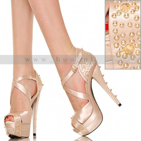 nie - Satynowe Złote Sandały - Złote Ćwieki