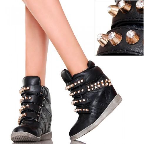 nie - Złote Ćwieki - Cyrkonie - Czarne Sneakersy