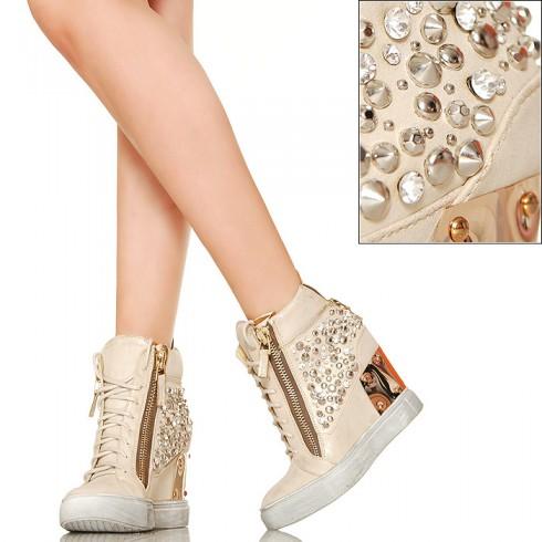 nie - EXKLUSIV Glamour Sneakersy Cyrkonie Wanilia