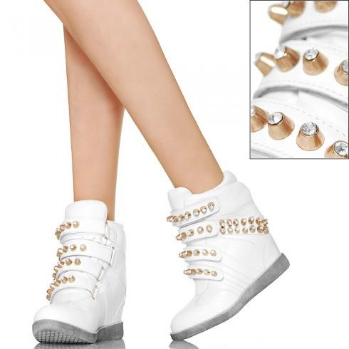 nie - Złote Ćwieki - Cyrkonie - Białe Sneakersy