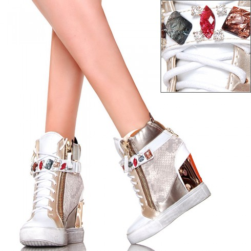 nie - EXKLUSIV Białe Sneakersy Kolorowe Cyrkonie