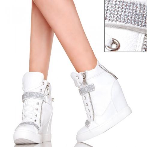 nie - Białe Seksowne Sneakersy Srebrne Cyrkonie