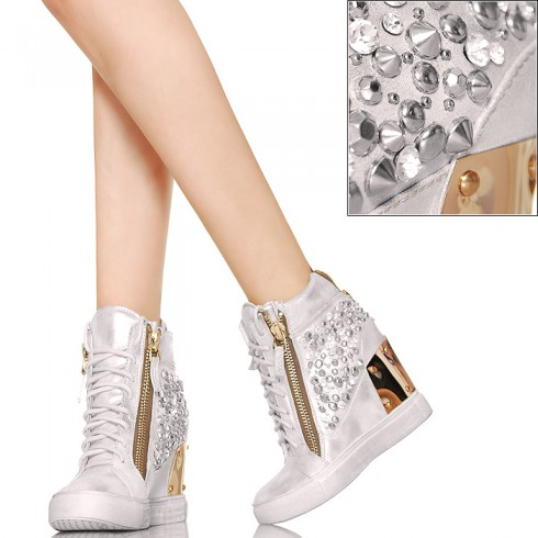 nie - EXKLUSIV Glamour Sneakersy Cyrkonie Srebrne