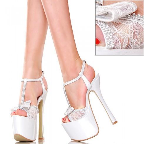nie - Sandały - GoGo - Perłowo Białe z Koronką