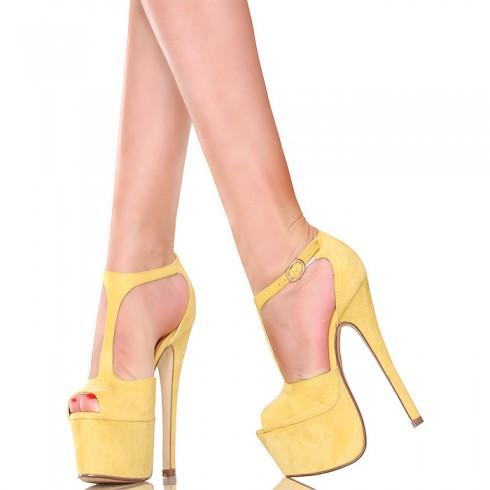 nie - Sandały - Zgrabne Żółte Słoneczne