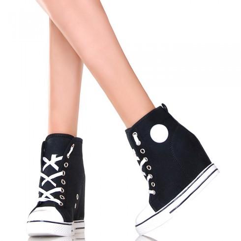 nie - Sneakersy - Czarno Białe Trampki na Koturnie