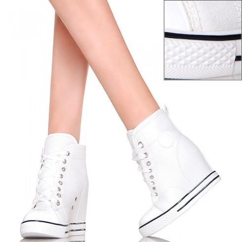 nie - Sneakersy - Białe Trampki na Koturnie