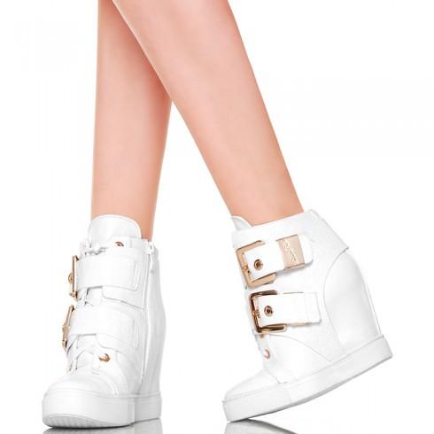 nie - Sneakersy - Zgrabne Białe 2 Klamry