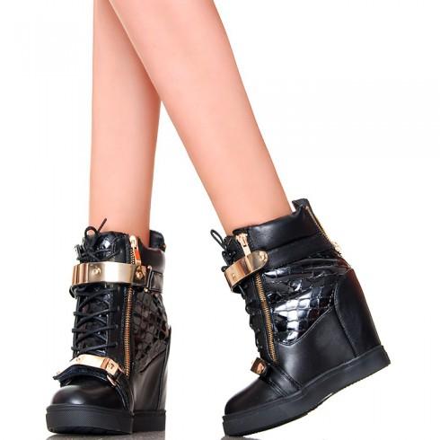 nie - Sneakersy - Czarne z Wężem Złote Blaszki