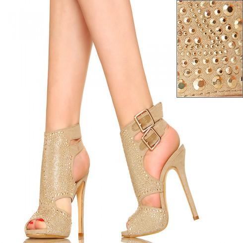 nie - Uwodzicielskie Bogato Zdobione Beżowe Sandały