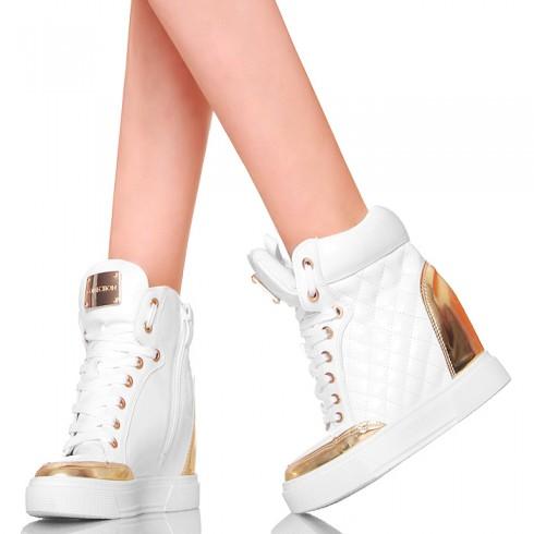 nie - Sneakersy - Białe Lakierowane Złote Wstawki