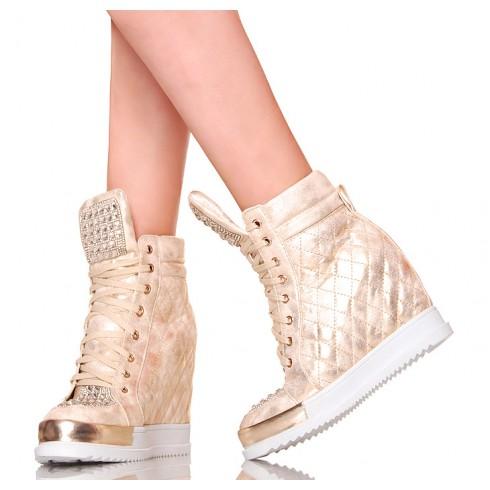 nie - Sneakersy - Złote Sexy Glamour - Cyrkonie