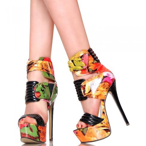 nie - Sandały - Fantastyczne Lakierowane Kwiatowe