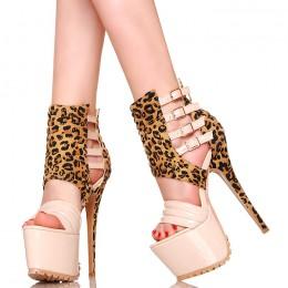 Sandały - Beżowe Lakierowane z Panterką