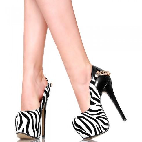 nie - Czółenka - Seksowna Zebra na Łańcuchu