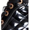 Sneakersy - Czarne Lakierowane Złote Wstawki