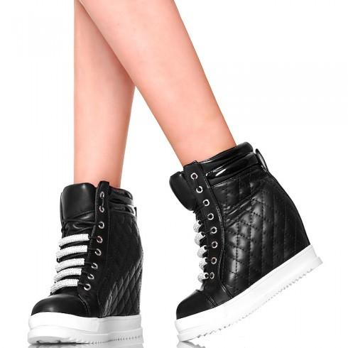 nie - Sneakersy Czarne Pikowane - Błyszczące Cyrkonie