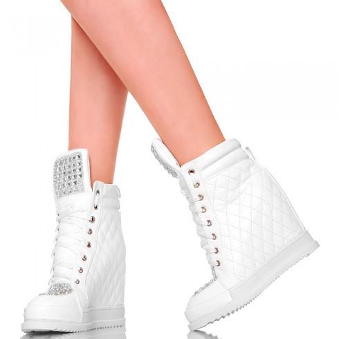 nie - Sneakersy Śnieżnobiałe Sexy Glamour Cyrkonie