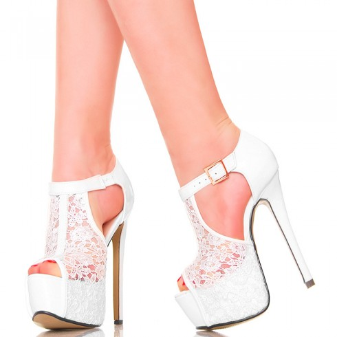 nie - Sandały - Efektowne Białe z Koronką