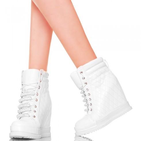 NIE - Sneakersy Białe Pikowane - Błyszczące Cyrkonie