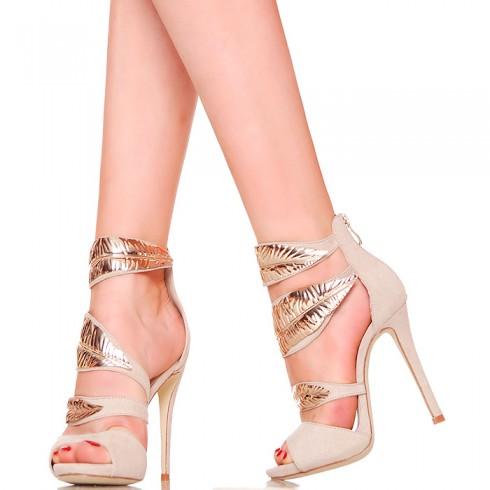 nie - Sandały - Beżowe ze Złotymi Listkami