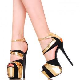 Sandały - Czarne Platformy Złote Dodatki