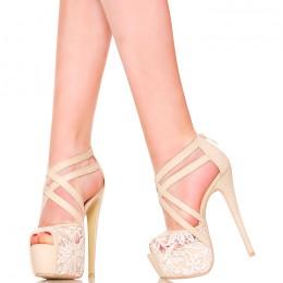 Sandały - Jasny Beż z Kremową Koronką
