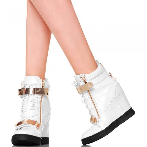 nie - Sneakersy - Białe Wężowa Skórka Złote Blaszki