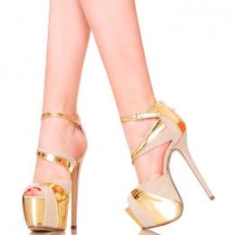Sandały - Beżowe Platformy Złote Dodatki