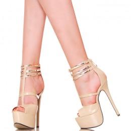 Sandały - Beżowe - Trzy Złote Blaszki