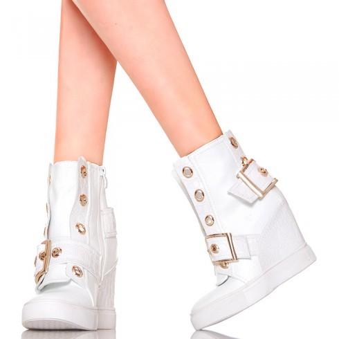nie - Sneakersy - Białe z Dużymi Złotymi Klamrami