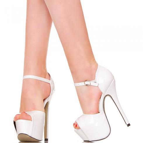 nie - Sandały - Białe Proste Lakierowane Sandałki