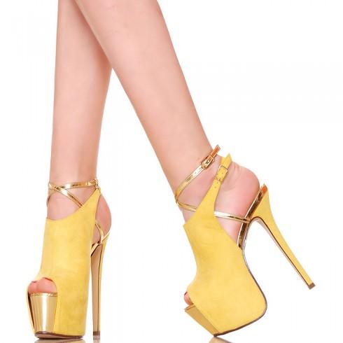 nie - Sandały - Żółte Zabudowane Ze Złotymi Wstawkami