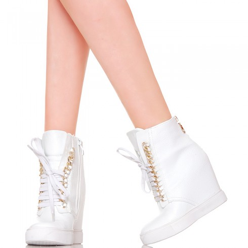 NIE - Sneakersy - Białe Nietypowe Złoty Łańcuch