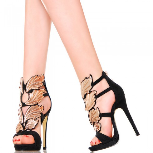 nie - Sandały - Czarne Szpilki Złote Skrzydła