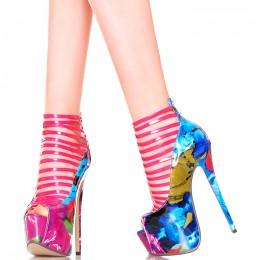 Sandały - Kolorowe Malowane Różowe Paseczki