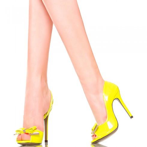 nie - Czółenka - Neonowe Żółte Sexy Kokardka
