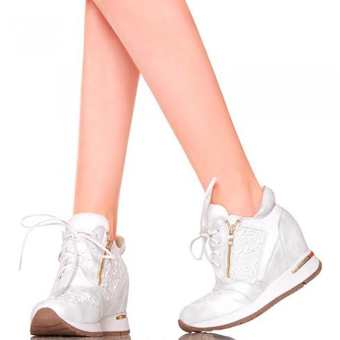 nie - Sneakersy - Biało Srebrne z Koronką Koturn