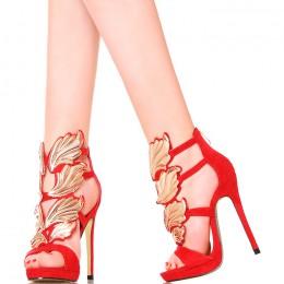 Sandały - Czerwone Szpilki Złote Skrzydła
