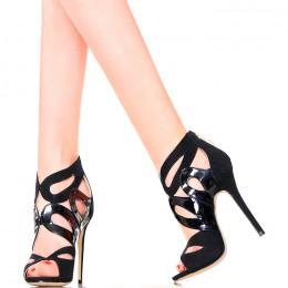 Sandały - Czarne Kombinowane Lakier i Zamsz