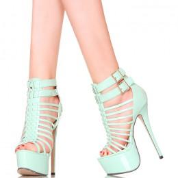 Sandały Miętowe Lakierowane Sexxxxy Gladiatorki