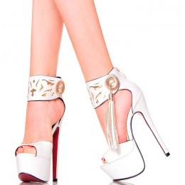 Sandały - Białe z Paskiem Na Kostce - Frędzle