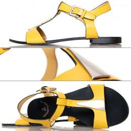 Sandały - Żółte Efektowne ze Srebrną Blaszką