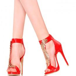 Sandały - Czerwone Lakierowane Złota Ozdoba