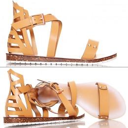Sandały W Kolorze Camel - Kobiece Gladiatorki
