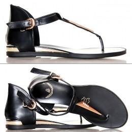 Sandały Czarne Kobiece Japonki Złote Dodatki 4149