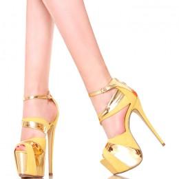 Sandały - Żółte Platformy Złote Dodatki